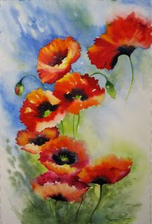 Floating Poppies, Watercolor