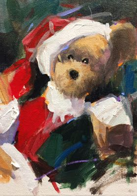 Christmas Teddy 7 x 5 Acrylic by John K. Harrell