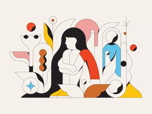 Bold Illustrations by Calvin Sprague Camouflage Geometric Figures and Detached Body Parts