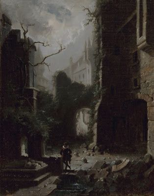 Carl Spitzweg, Moonlit Scene with Castle Ruins