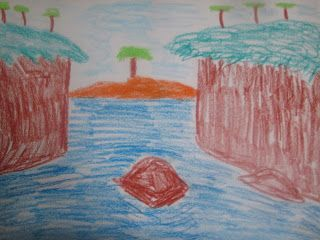 Seven Trees By The Ocean - Oil Pastel
