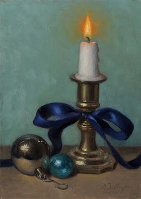 """""""Christmas Candle 2018"""" Oil on 5x7 board"""
