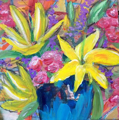 "Expressive Still Life Floral Painting, Colorful Original Flower Art, ""ROCKSTARS"" by Texas Contemporary Artist Jill Haglund"
