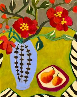 """Still Life Art,Bold Expressive Painting """"Peonies and Pears"""" by Santa Fe Artist Annie O'Brien Gonzales"""