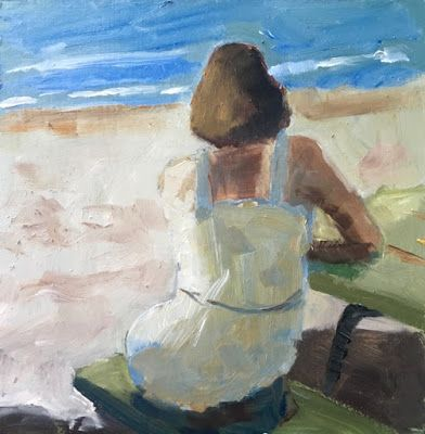 314 Waiting, A Woman sits on a bench with her back to us, Figure Painting by Fred Bell