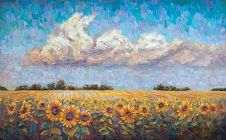 "New ""Field of Sunshine II"" Palette Knife Sunflower Painting by Niki Gulley"