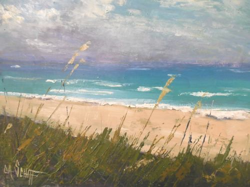 Florida Seascape Painting, small oil painting, daily painting