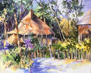 The Colors of Country Living..Watercolor..Texas Artist..Rae Andrews