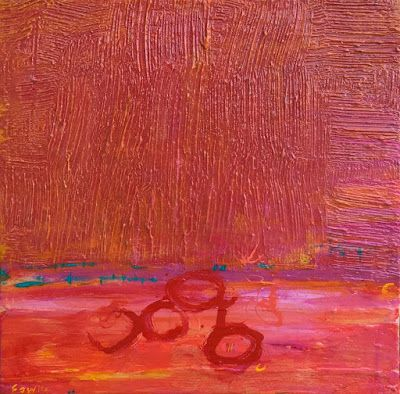 """Contemporary Abstract Mixed Media Fine Art Painting, """"PACIFIC SUNSET"""