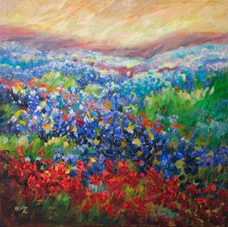 """New """"Visions of Wildflowers"""" Palette Knife Bluebonnet Oil Painting by Niki Gulley"""