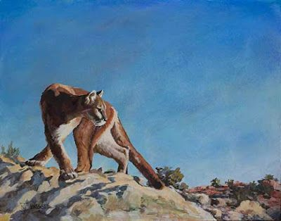 "Original Puma Wildlife Painting ""HIGH DESERT PUMA"" by Colorado Western Landscape Painter Nancee Jean Busse"