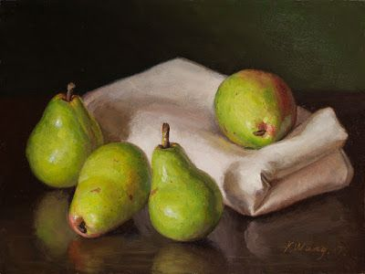 Pears painting still life fruit painting original