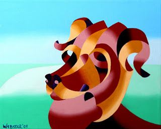 Mark Webster - Abstract Geometric Dog Oil Painting