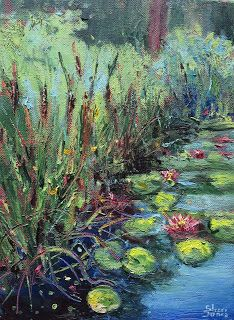 Clark Water Garden, New Contemporary Landscape Painting by Sheri Jones