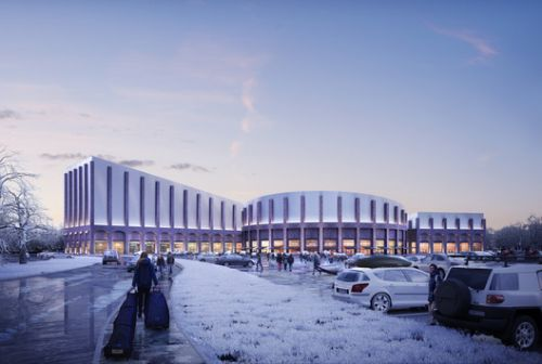 FaulknerBrowns' Plans for a New Indoor Snow Slope is Inspired by Railway Architecture