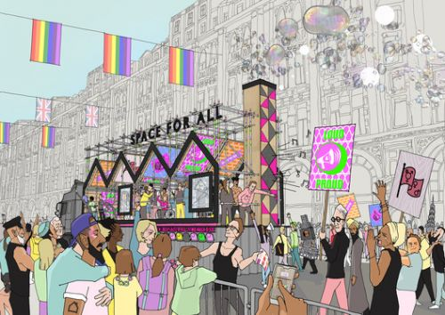 """Hawkins\Brown's London Pride Float Celebrates the """"Dual Identities"""" of LGBT+ Architects"""