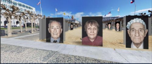 Least we forget. Portraits of Holocaust survivors at Civic Center plaza