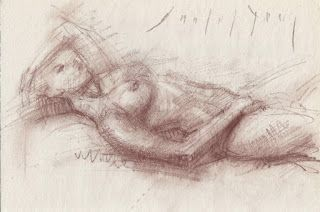 Reclining female nude with hand over her head
