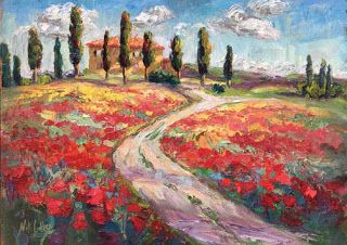 "New ""Ruby Road"" Palette Knife Poppy Painting by Niki Gulley"