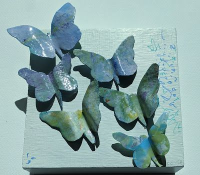 "Butterfly Paper, Resin Sculpture, Collage, Painting, ""RESIN BUTTERFLY SCULPTURE"