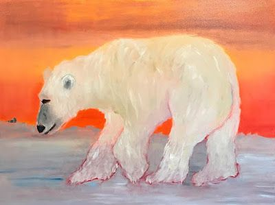 "Polar Bear Fine Contemporary Art Oil Painting ""Ice Fishing"" by Oklahoma Artist Nancy Junkin"