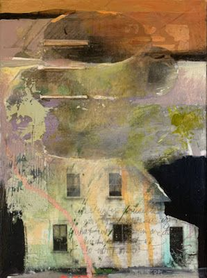 "Mixed Media,Collage Art House, ""UNCERTAIN DREAM"" by Intuitive Artist Joan Fullerton"