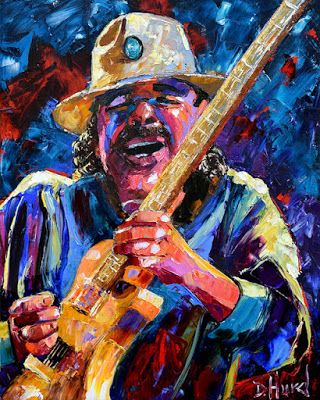"Rock Guitar Painting Texture Colorful ""Carlos Santana"" by Debra Hurd"
