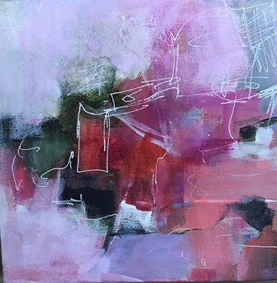 "Abstract Art, Expressionism, Contemporary Painting ""Pinkin' of You"" by Contemporary Artist Maggie Demarco"