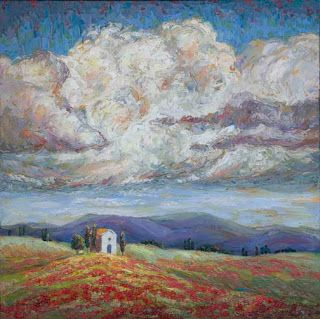 "Cloud Gazing ©2018 Niki Gulley SOLD • 24"" x 24"" textured oil painting on gallery wrap canvas Just Sold through the Good Art Company Gallery! Inspirerd by a trip to Italy, my husband wanted to stop and photograph this lone stone building. I was also"