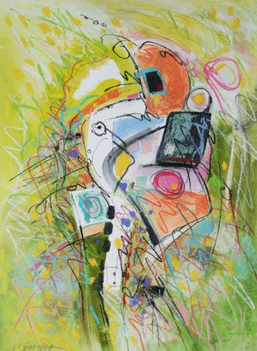Chartreuse and Orange, abstract painting by Carol Engles