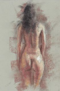 Backside female nude in pastel