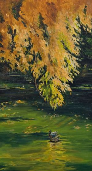 "Original Landscape Painting With Ducks ""A Fine Autumn Day"" by Colorado Artist Nancee Jean Busse, Painter of the American West"