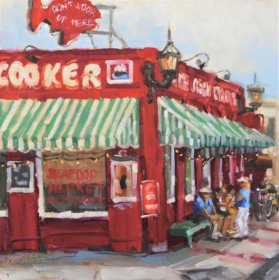 Don't Look Up Here - a plein air painting of The Crab Cooker, Newport Beach