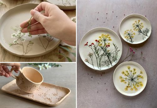 Assemblages of Found Florals Imprinted on Ceramic Mugs and Plates by Hessa Al Ajmani