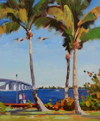 """""""Palms and Pelicans"""" plein air oil painting by Robin Weiss"""