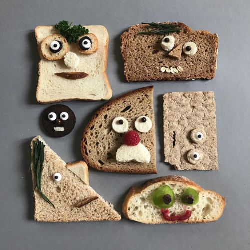 Cartoonish Bread Faces and Other Wheaty Characters by Sabine Timm