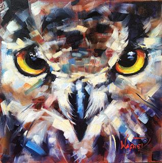 ORIGINAL CONTEMPORARY OWL Painting on Panel in OILS by OLGA WAGNER