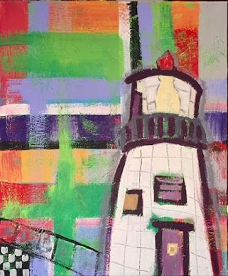 "Lighthouse, Narrative Art Painting,Contemporary Art ""Owl's Head,Maine"" Narrative Art by Santa Fe Artist Judi Goolsby"