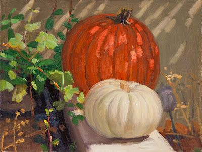 Pumpkins in a corner of yard still life painting light and shadow