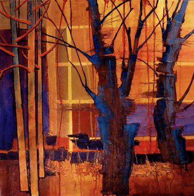 "Abstract Landscape, Tree, Fine Art Print, Contemporary Art, ""Parkview III"" by Colorado Artist Carol Nelson"