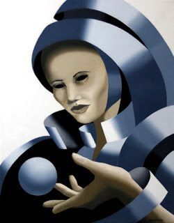 Mark Webster - Untitled Grayscale Mask Oil Painting