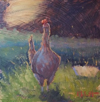 Contemporary Painting Original Art Chicken Landscape