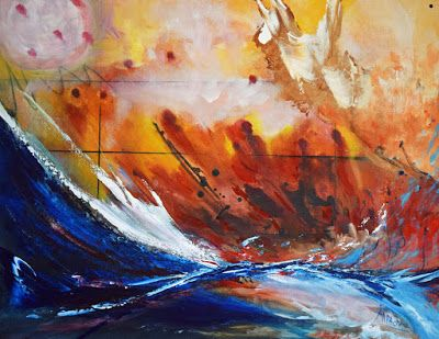 "Original Contemporary Seascape Painting ""Lost at Sea"" by International Abstract Realism Artist Arrachme"