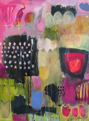 """Contemporary Art, Abstract Painting, Bold Expressive Painting """"GARDEN SECRETS 2"""" by Santa Fe Artist Annie O'Brien Gonzales"""
