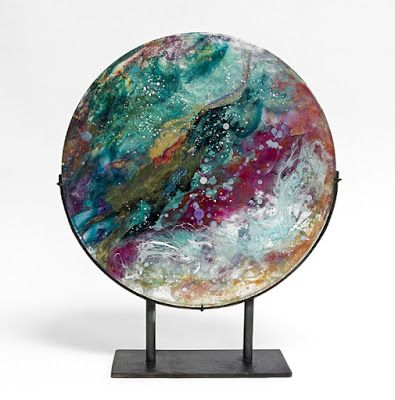 "Fine Art Free Standing Round Sculpture, Resin, Steel, Cast Acrylic ""New World Planet"" by Santa Fe Artist Sandra Duran Wilson"