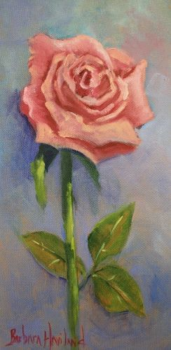 Pink Rose on Panel, oil painting, Barbara Haviland