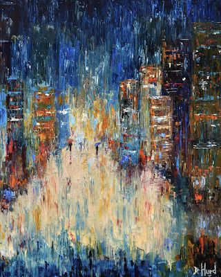 "Blue Cityscape Art Street Scene Painting Textured ""Rain Dance Blues"" by Texas Artist Debra Hurd"