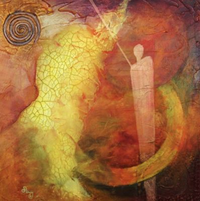 """Nebula 1:Other Worlds""Original Contemporary Abstract Mixed Media Mystical Figure, Circles Art Painting by Contemporary Arizona Artist Pat Stacy"
