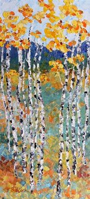 "Original Palette Knife Aspen Landscape Painting ""Season's Change"" by Colorado Impressionist Judith Babcock"