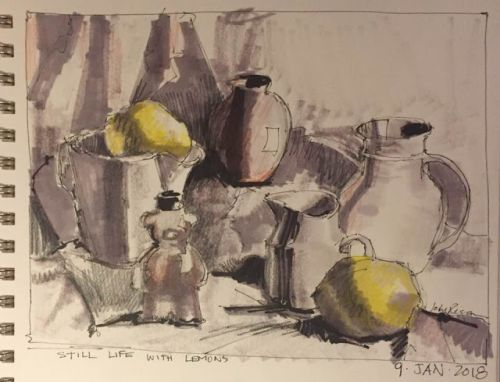 """Day 99 """"Still Life with Lemons"""" 6 x 12 mixed"""